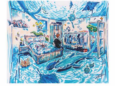 Blue dreamy lofi copic oceanic ocean illustration design illustration art illustration