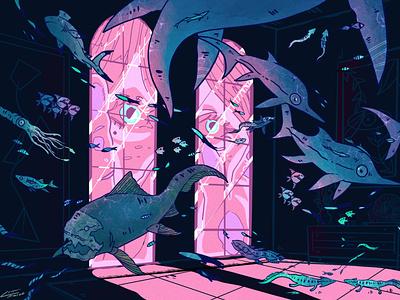 Prehistoric views procreate art procreate atmospheric moody prehistoric paleoart ocean design lofi dreamy digitalart illustration illustration design illustration art