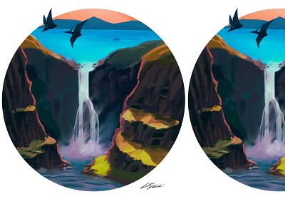 Strange birds dinosaur art landscape illustration landscape dinosaur illustration design ocean lofi dreamy digitalart illustration illustration art