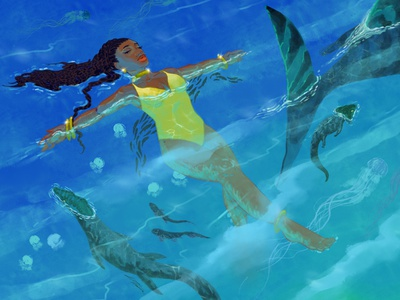 One raindrop raises the ocean digitalart endlessblue endlessblue illustrations oceanic paleoart procreate ocean lofi dreamy illustration illustration design illustration art