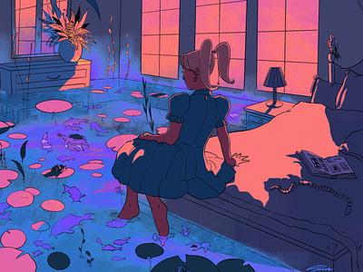 The hidden pond atmospheric atmosphere ocean lofi dreamy procreate digitalart illustration illustration design illustration art