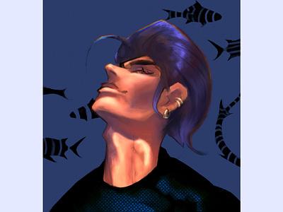 The dreamer ocean character lofi dreamy procreate digitalart illustration illustration design illustration art