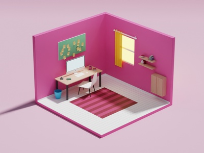 Home Office Low-poly 3D model blender3dart 3d artist 3d blender3d illustration 3d art isometric art isometric blendercycles blender blender 3d office home office home