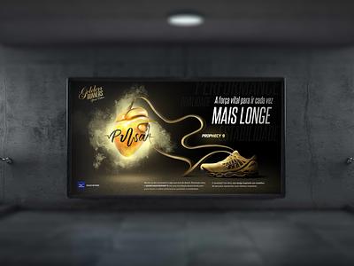 K.V - Mizuno Golden Runners product photoshop graphcdesign digitalart designgrafico pulsar photomanipulation design grafico marca branding tenis mizuno