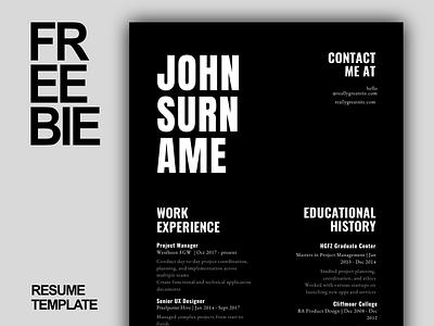 Freebie | Resume/CV Design Minimal Canva Free Download minimal freebies freedownload free resume cv