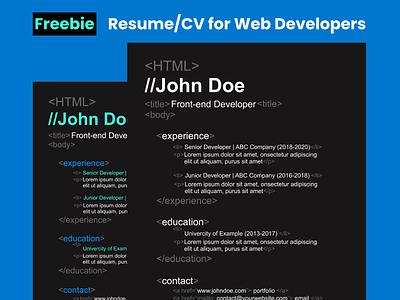 Freebie | Resume/CV Template for Web Developers design graphic design cv resume template figma freebies free