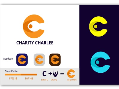 Charity Charlee Modern Logo. typography brand vector 2d icon minimal falt apps 3d illustrator logos branding graphic design charity logo design logo modern logo simple logo illustration creative logo