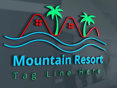 Mountain Resort Logo beach logo graphic design r logo m logo mountain resort logo design modern logo simple logo illustration creative logo
