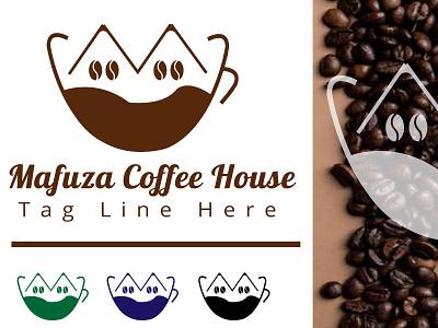 Mafuza Coffee House Logo coffee shop tea shop restaurant branding design logo modern logo simple logo mafuza coffee house coffee house logo house logo coffee logo creative logo