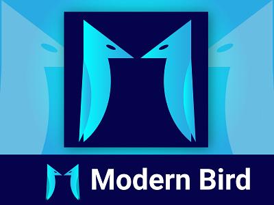 Modern Bird Logo graphic design minimal flat couple bird bird icon apps icon 3d vector logo design simple logo modern logo illustration creative logo brand branding logos