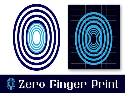 Zero Finger Print Logo icon app illustrator 2d minimal flat 3d logos vector branding design logo simple logo modern logo illustration creative logo