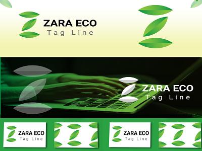 ZARA ECO logo eco typography elegant brand logo letter logo z logo icon 2d flat logos graphic design 3d vector illustration logo branding creative logo design simple logo modern logo