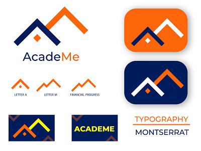 AcadeMe Financial Logo investment service financial academe logos 2d apps icon minimal flat graphic design 3d vector branding design logo simple logo modern logo creative logo illustration