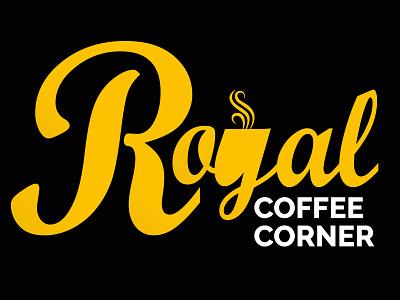 Royal Coffee Corner Logo coffee shop flat minimal royal logo cafe coffee brand logos graphic design vector branding design logo simple logo modern logo creative logo illustration