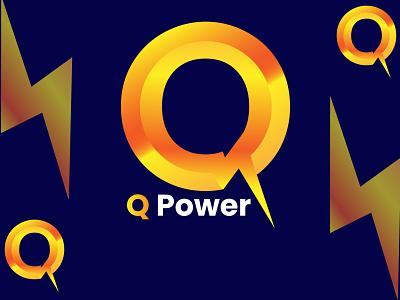 Modern Q with power Logo electric bold power tech graphics home 1512 sdn motion graphics graphic design 3d vector logo branding design simple logo modern logo creative logo illustration