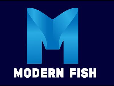 Modern Fish Logo logos minimal flat fish logo m logo graphic design 3d vector branding design logo simple logo modern logo creative logo illustration