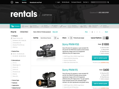 eCommerce design, product listings