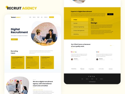 Recruiting Agency Website Landing Page human resource uiux design corporate branding job vacancy hiring vacancy agency branding saas design saas landing page job search job application job listing recruiting recruiter recruitment agency recruitment