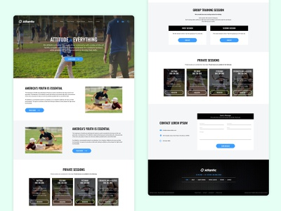 Online American Baseball Training School multiplayer sessions online minimalist landing page design responsive design interactive interaction design hero banner online school online course online service coaching online training baseball player game baseball baseball card clean ui minimal ui
