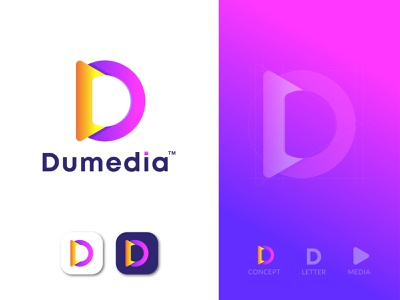 Dumedia | Letter D | Media Icon o p q r s t u v w x y z video branding media store unused colorful symbol social media dumedia letter d combination mark gradient logo simple and clean apps icon creative logo modern logo brand identity