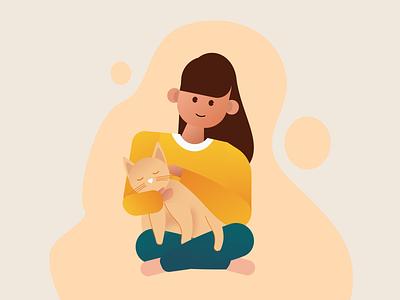 Relax With Cat design app web illustration flat illustration branding ui vector illustration graphic design