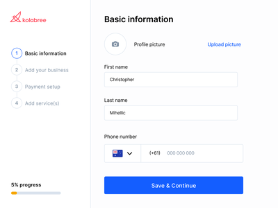 💼 Personal details breadcrumbs progress indicator zyrous popular dribbble upload picture button dropdown phone number clean user interface sidebar dashboad saas real project design consultation signifier affordance fields