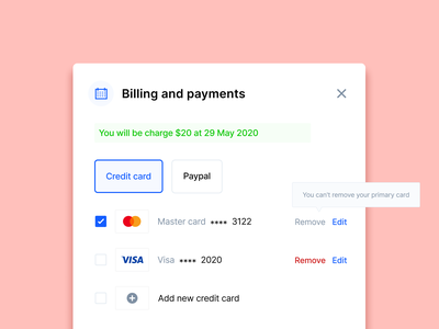 🧧 Billing and Payments subscriptions credit card paypal stripe payment ux ui user interface dashboad saas real project design single selection signifier consultation clean affordance