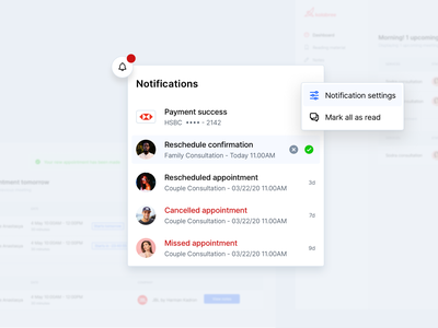💬Consultation management addiction mark as read missed consultations online consultation appointment reschedule payment success approval notifications sidebar dashboad hover saas real project design clean consultation signifier affordance