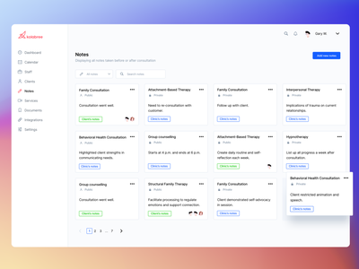💻 Notes desktop view list of notes video consultation dashboard notes app notes components user interface single selection dashboad signifier consultation affordance saas real project design clean