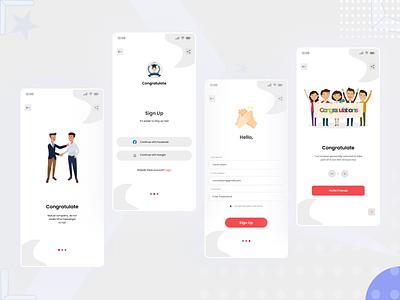 Congratulate Sign Up mobile app UI design mobile app design
