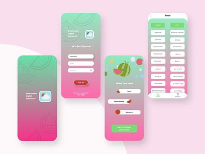 Watermelon English Grammar english learning app ui app design english education english grammar learning app