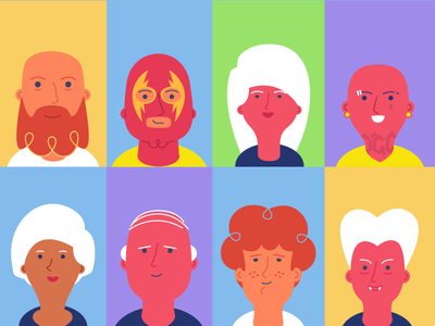 Readership | App users users flat illustration vector set readers face characters