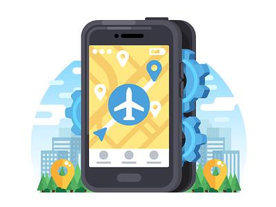 Offline Navigation Icon / Illustration radikz navigation setup settings offline mobile phone illustration icon