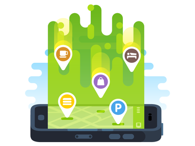 MAPS.ME Auto Update Illustration vector shopping parking hotel icon cafe poi map smartphone illustration