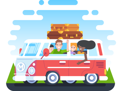 MAPS.ME Travel Illustration fun maps van travel illustration icon