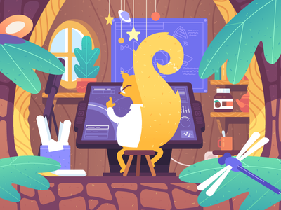 Planswell nature planning science workplace forest squirrel cartoon