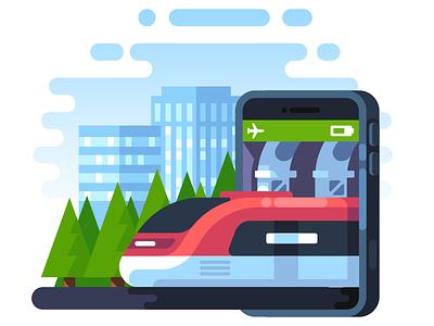 MAPS.ME Train Navigation Illustration city forest navigation travel train illustration