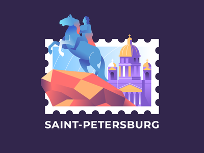 Saint-Petersburg | Postage Stamp mark geo city sticker illustration petersburg stamp