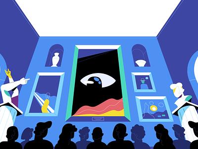 Museum | ONO crowd vector sculpture eye museum illustration