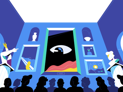 Museum   ONO crowd vector sculpture eye museum illustration