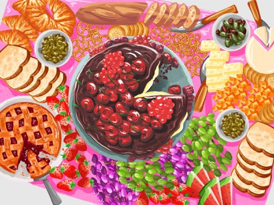 Chocolate cake & cheese food art procreate colorful art pink illustrator food illustrator illustration