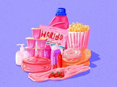 Pink products illustrator pink and purple stilllife drawing challenge pink procreate colorful art food art drawingart drawing