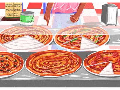 New York pizza red female artist digital illustrations food drawing digital art new york digital design illustration pizza digital illustration food art illustrator colorful art
