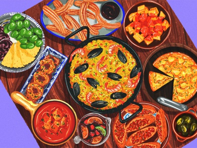 Spanish fiesta female illustrator ipad procreate colourful spain table omelette illustrator digital illustration sketch drawing art food paella spanish food