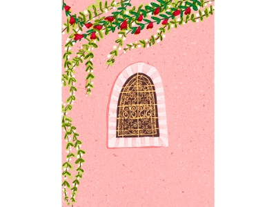 Moroccan window morroco plants vines ipad procreate food sketch design pink food art colorful art digital illustration window