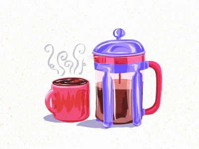 Morning coffee food art food drawing sketch colorful art procreate prints illustrator female artist illustration breakfast morning coffee cup cafetiere coffee