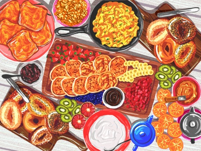 Breakfast table digital illustration colorful art colourful design bread illustration art illustration illustrator fruit eggs bagels pancakes food art breakfast