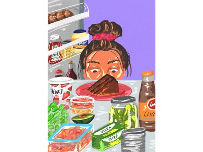 Lockdown cravings female artist purple digital illustration colorful art procreate illustrator illustration food illustrator eating habits food fridge magazine illustration editorial illustration editorial food illustration food art