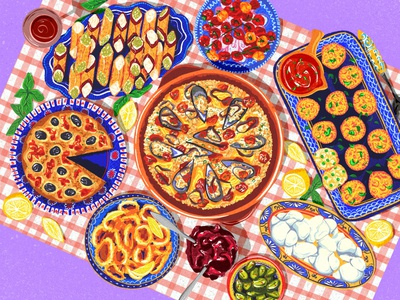 Traditional Italian dining female artist illustration colourful purple colorful art design illustration portfolio illustrator food art food illustration food illustrator italian restaurant italian food italy