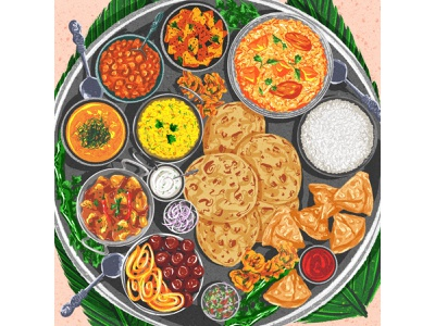 Indian thali illustrator editorial female artist procreate design pattern colorful art digital illustration food illustrator food art food illustration food indian thali indian food
